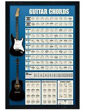 Chord Diagrams Black Wooden Framed Guitar Chords Maxi Poster 61x91.5cm