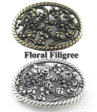 WESTERN WOMEN'S COWGIRL OVAL ROPE FLORAL FILIGREE RODEO TROPHY BELT BUCKLE NEW