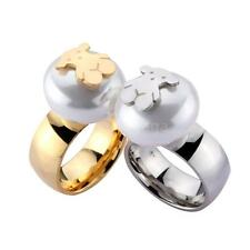 New Fashion Pearl Bead Stainless Steel Bear Ring Women Lady Jewelry Rings A3Z9