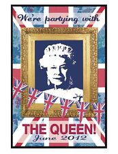 Martin Wiscombe Gloss Black Framed Partying with The Queen Poster 61x91.5cm