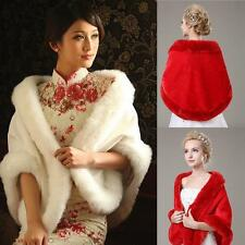 New Ivory/Red Faux Fur Wedding Shawl Wrap Shrug Bolero Bride Coat/Jacket