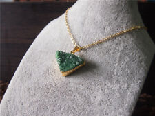 Triangle Agate Druzy Drusy Green Gemstone Pendant Golden Chain Gem Necklace