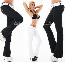 HOT SEXY LOW CUT JEANS TROUSERS FLARE BOOTCUT INCL. BELT Black Or White XS-XL