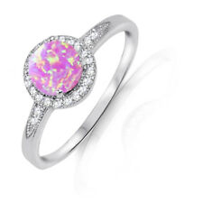 Round Halo Pink Fire Opal Engagement Bridal White Sapphire Sterling Silver Ring
