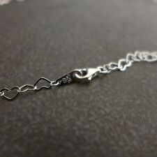 "925 Sterling Silver,Flat Heart Linked Chain Necklace,Rhodium Plated 14"" ~ 24"""