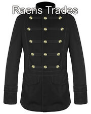 Mens Military Jacket Black Gothic Steampunk VTG Pea Coat