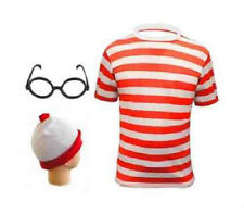NEW MENS WOMENS RED AND WHITE BOYS GIRLS OUTFIT FANCY DRESS TSHIRT HAT GLASSES