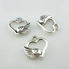 15/60/500pcs Tibetan Silver Heart Wings Charms Crafts Pendants Jewelry 12x13mm
