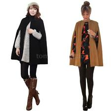 Womens Warm Winter Cape Batwing Wool Poncho Jacket Ladies Solid Loose Cloak Coat