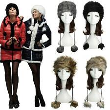 Women Warm Russian Cossack Hat Faux Fur Winter Outdoor Snow Cap Vintage CK32