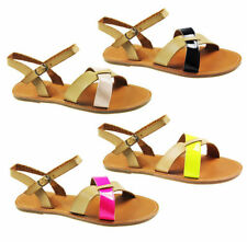 NEW WOMENS LADIES FLAT ANKLE SUMMER BUCKLE STRAP LEATHER SANDALS SIZE