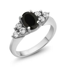 1.45 Ct Oval Black Onyx White Diamond 18K White Gold Ring