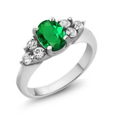 1.18 Ct Oval Green Simulated Emerald 18K White Gold Ring