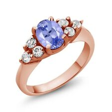 1.34 Ct Oval Blue Tanzanite 18K Rose Gold Ring