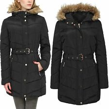 LADIES PADDED PUFFER LONG COAT WOMEN FUR COLLAR WINTER QUILTED ZIP JACKET BELTED