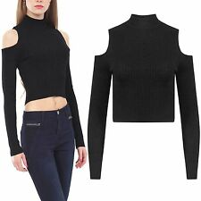 LADIES RIB POLO COLD SHOULDER TURTLE NECK LUREX CROP TOP WOMEN SLEEVED STRETCH