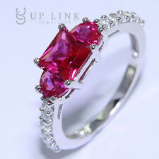 Three-Stone Square Red Corundum CZ 925 Sterling Silver Wedding Engagement Ring