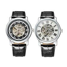 New Luxury Men Skeleton Automatic Watch Mechanical Leather Mens Wristwatch D2BY