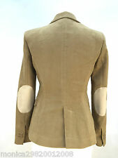 ZARA BROWN MOLESKIN FITTED BLAZER JACKET WITH ELBOW PATCHES SIZE S_L