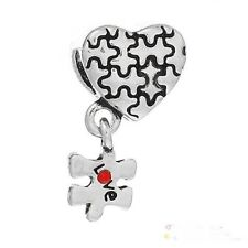 "Puzzle pieces, Love Heart ""Autism"" Awareness bead Charm fit European bracelet"