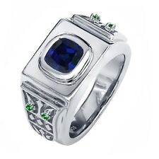 2.56 Ct Blue Simulated Sapphire Green Simulated Emerald 925 Silver Men's Ring