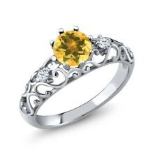 0.78 Ct Round Yellow Citrine 925 Sterling Silver Ring