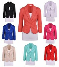 Fashion Women Blazer Jacket Suit Slim Work Casual Basic Long Sleeve Candy Button