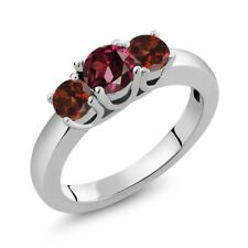 1.34 Ct Round Red Rhodolite Garnet Red Garnet 925 Sterling Silver Ring