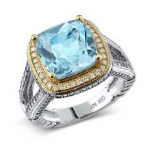 6.12 Ct Cushion Cut Genuine Sky Blue Topaz Two-Tone 925 Sterling Silver Ring