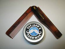 Fat Jack's Tash Wax Folding Moustache Comb & 15ml Tin of Moustache Wax - BARGAIN
