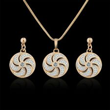 18K Multi-Tone Gold white Swarovksi Crystal vogue fan shape earring+pendant Sets