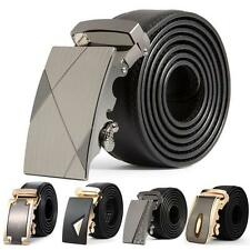 Fashion Mens Leather Waistband Automatic Buckle Business Casual Waist Strap Belt