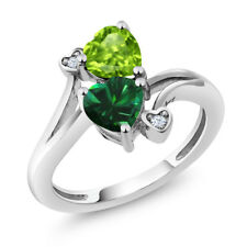 1.54 Ct Heart Shape Simulated Emerald Green Peridot 925 Sterling Silver Ring