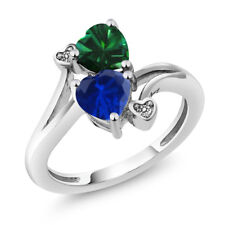 1.51 Ct Blue Simulated Sapphire Green Simulated Emerald 925 Sterling Silver Ring