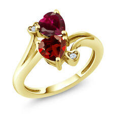 1.89 Ct Red Garnet Red Created Ruby 18K Yellow Gold Plated Silver Ring
