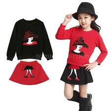 Girls Long Sleeve Sweatshirt Two-Piece Outfits Set Dress Mini Skirt Outfits H4U1