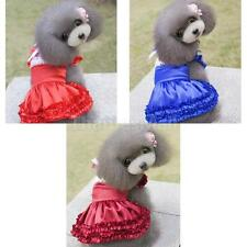 Pet Dog French maid Dress Satin Bowknot Lace Collar Clothes Skirt Apparel S-XL