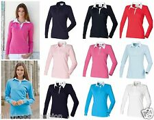 New FRONT ROW Women's Long Sleeve Style 9 Colours S-XL Plain Rugby Shirt