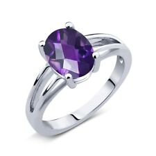 1.50 Ct Oval Checkerboard Purple Amethyst 925 Sterling Silver Solitaire Ring