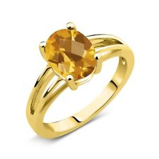 1.30 Ct Oval Checkerboard Yellow Citrine 14K Yellow Gold Solitaire Ring