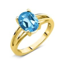 1.80 Ct Oval Swiss Blue Topaz 18K Yellow Gold Solitaire Ring