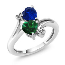 1.51 Ct Green Simulated Emerald Blue Simulated Sapphire 925 Sterling Silver Ring