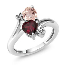 1.45 Ct Heart Shape Red Rhodolite Garnet Rose Rose Quartz 925 Silver Ring