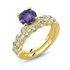 2.38 Ct Round Purple Amethyst White Topaz 18K Yellow Gold Plated Silver Ring