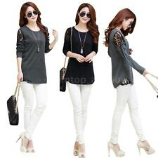 Womens Crew Neck Slim Top Lace Hollow Out Long Sleeve T Shirt Blouse M-XXL I4J9