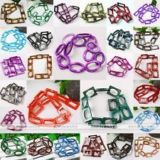 1 Strand MOP Shell Hollow Oval Rectangle Loose Bead Fit Women Jewelry Making DIY