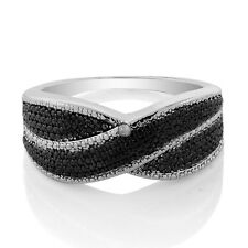 925 Sterling Silver Two-Tone Swirl Ring With Accent Diamond