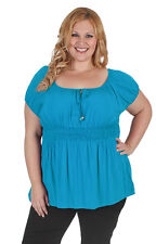 New Plus Size Blue Gypsy Rayon Short Sleeve Top | 18, 20, 22, 24, 26, 28