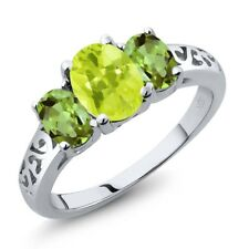 2.10 Ct Oval Yellow Lemon Quartz Green Peridot 18K White Gold Ring