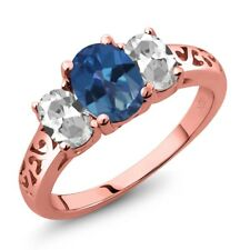 2.30 Ct Royal Blue Mystic Topaz White Topaz 18K Rose Gold Plated Silver Ring